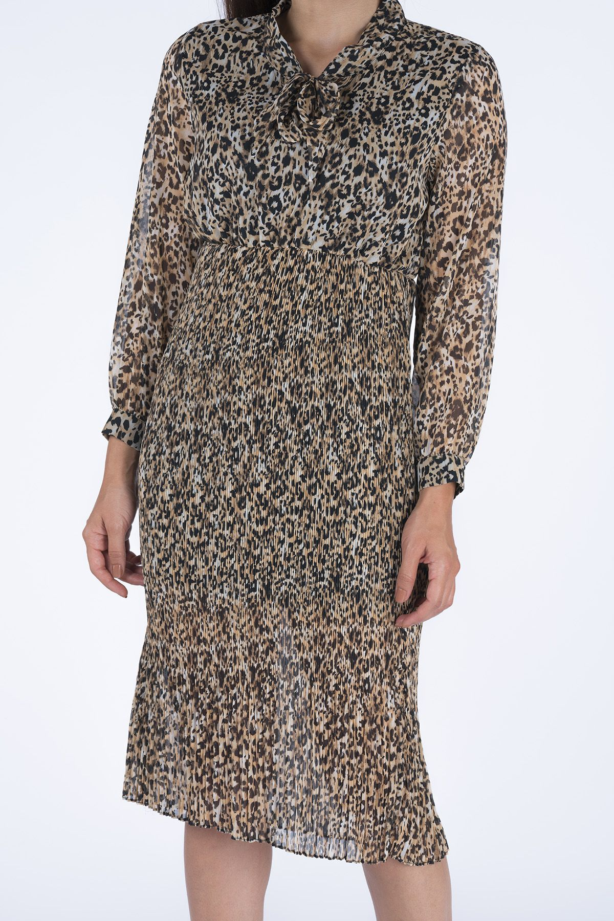 Belted Leopard Patterned Women's Dress 20K31030 Natural