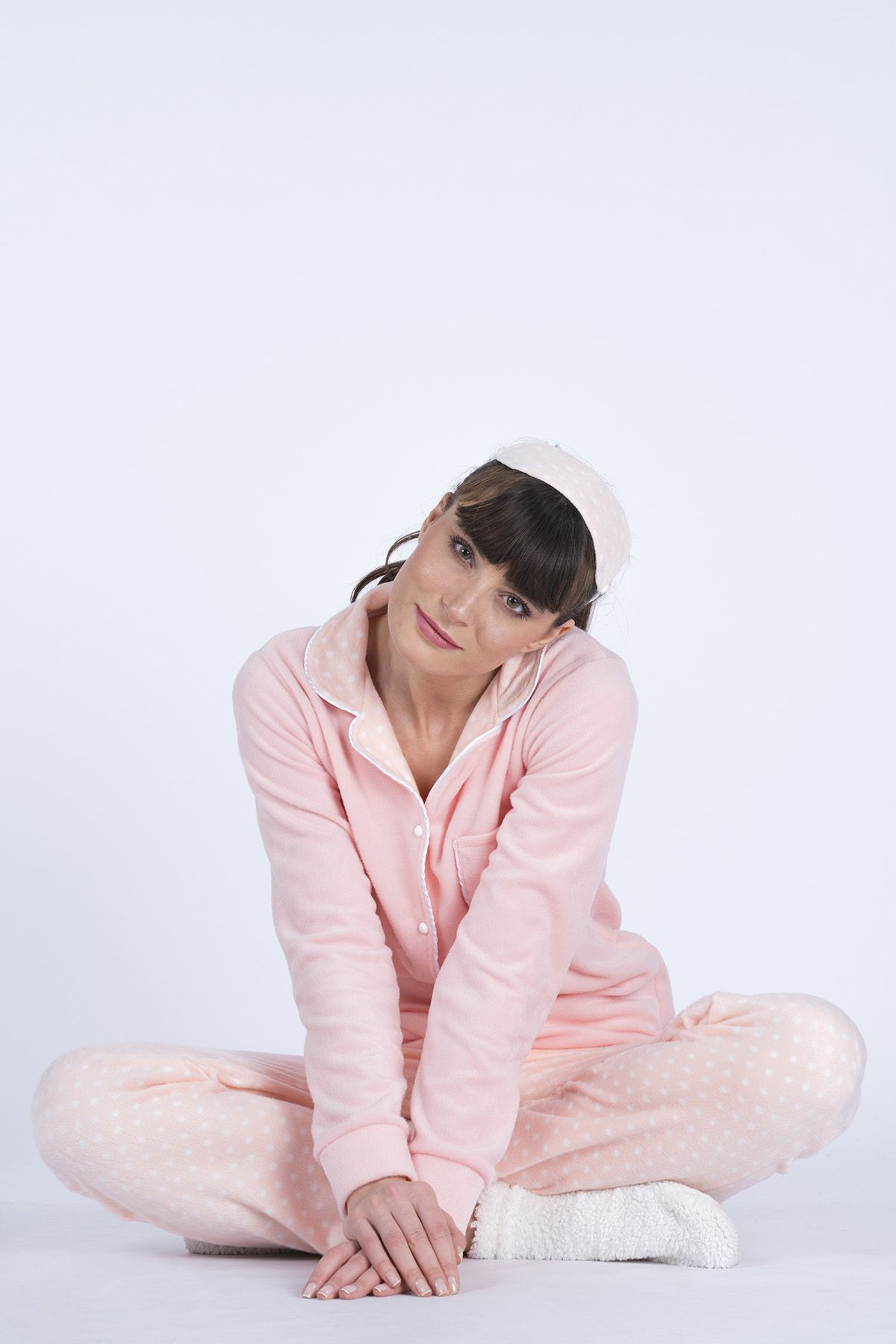 Women's Button Detail Pearl 3-Piece Pajama Set 5610 Salmon