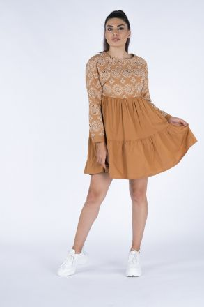 Women's Dress with Ribbon and Ruffles 2509 Tile