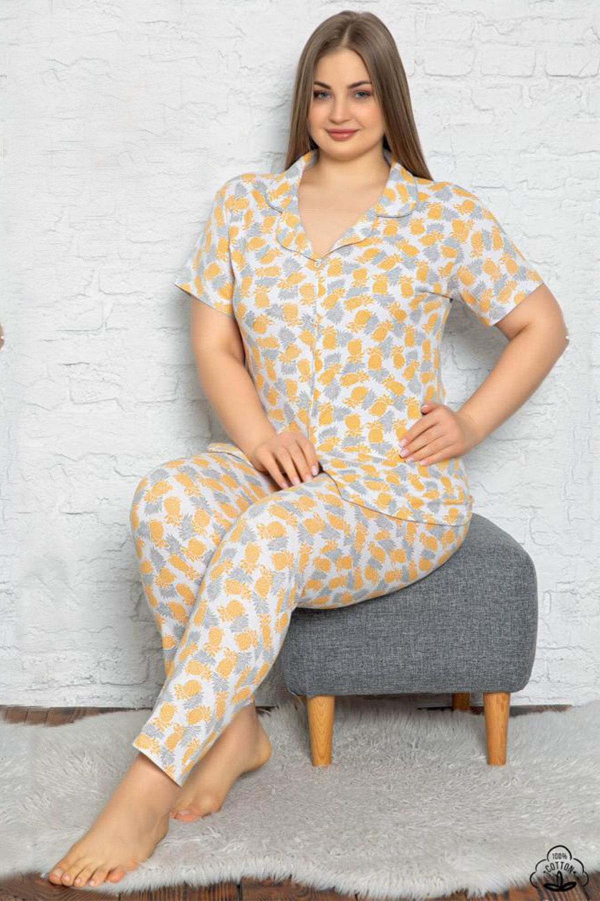 Plus Size Front Buttoned Pajamas Set 10020 Yellow