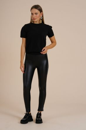 Leather Detail Women's Tights - 1001 Black