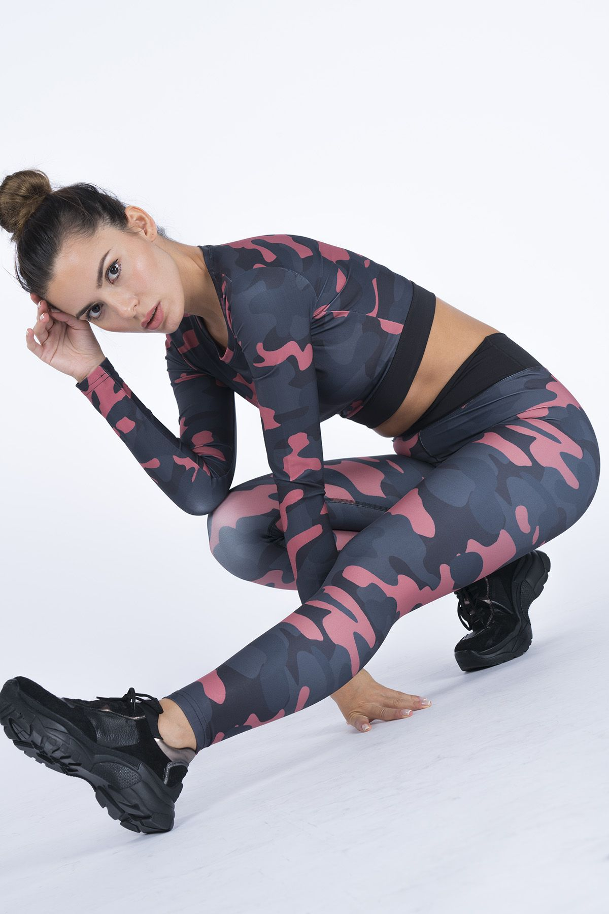 High Waist Wrap Camouflage Printed Women's Tights SS2534 Plum