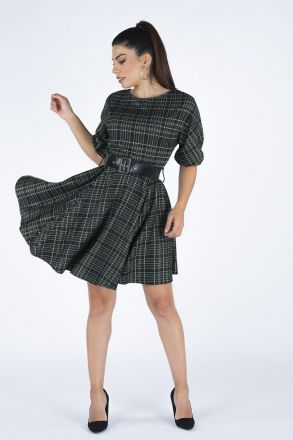 Plaid Women's Waist Belt Dress 19K5276 Khaki