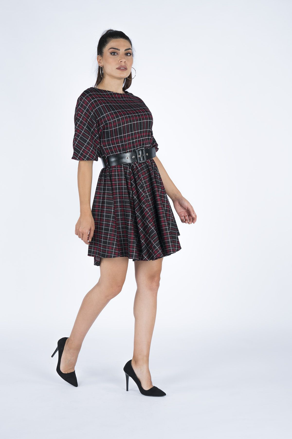 Plaid Women's Waist Belt Dress 19K5276 Claret Red