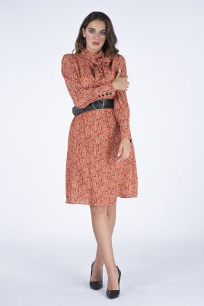 Scarf Detailed Women's Dress With Belt