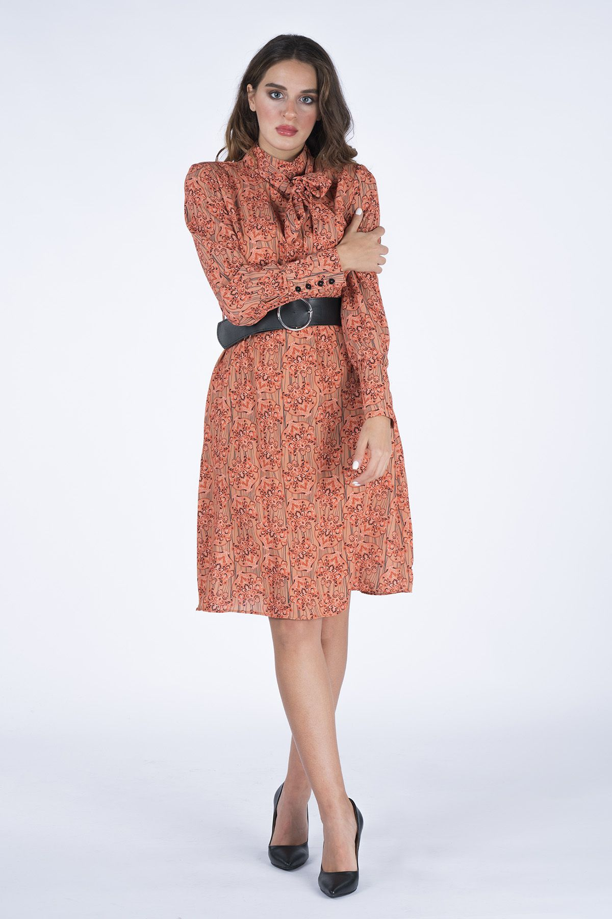 Scarf Detailed Women's Dress With Belt  7004 Tile