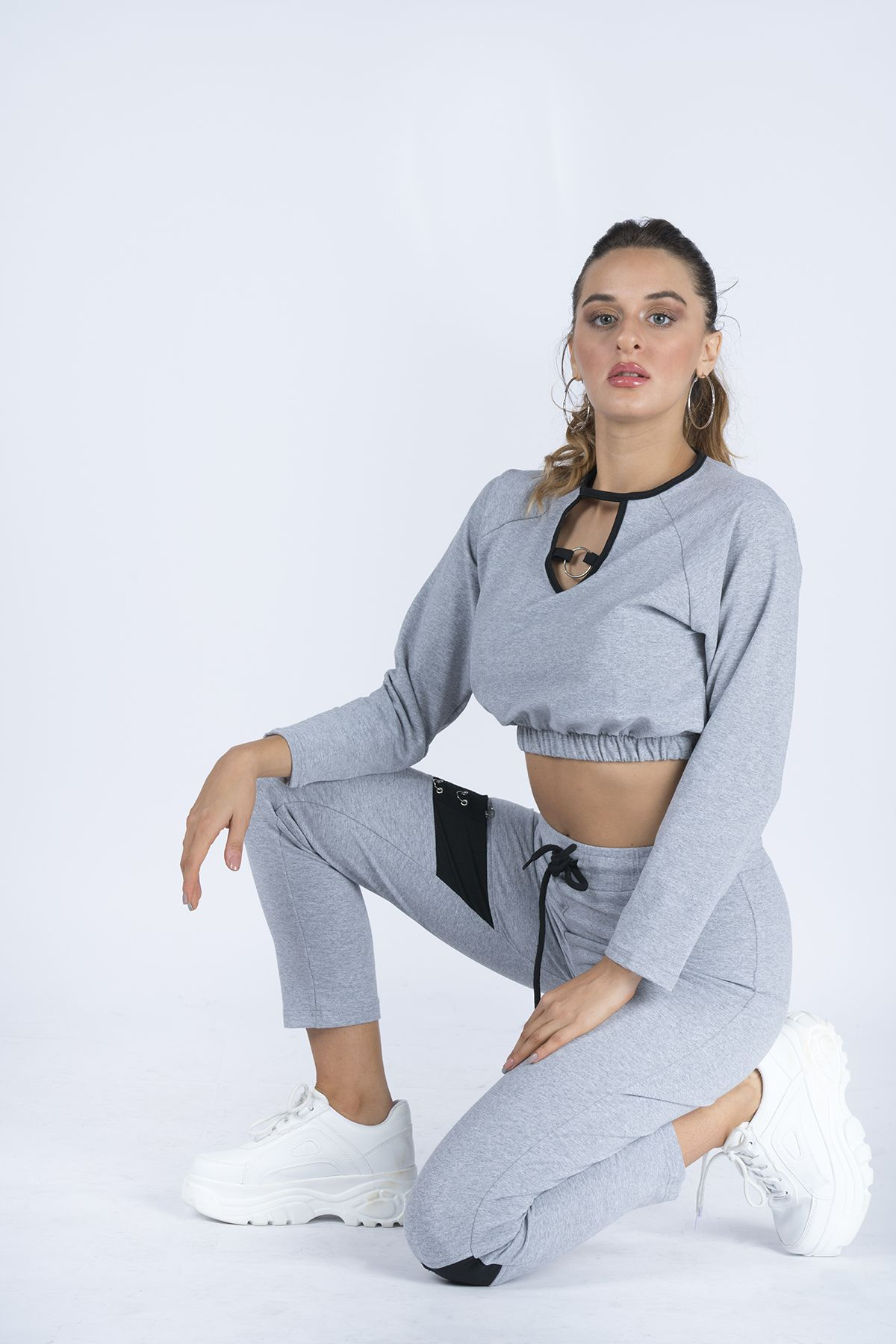 Ring Detailed Women's Tracksuit ST009 Grey