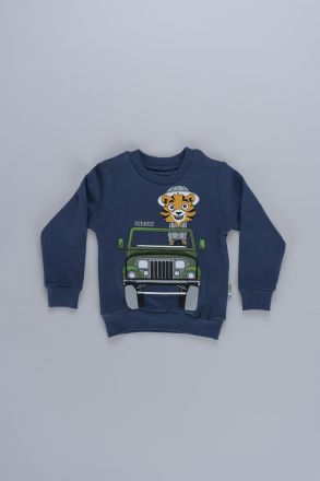 Interactive Jeep Graphic Unisex Kids Sweatshirt