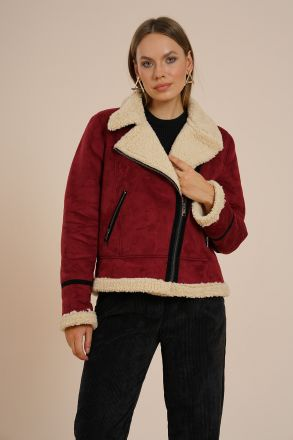 Women's Faux Fur Suede Biker Jacket -