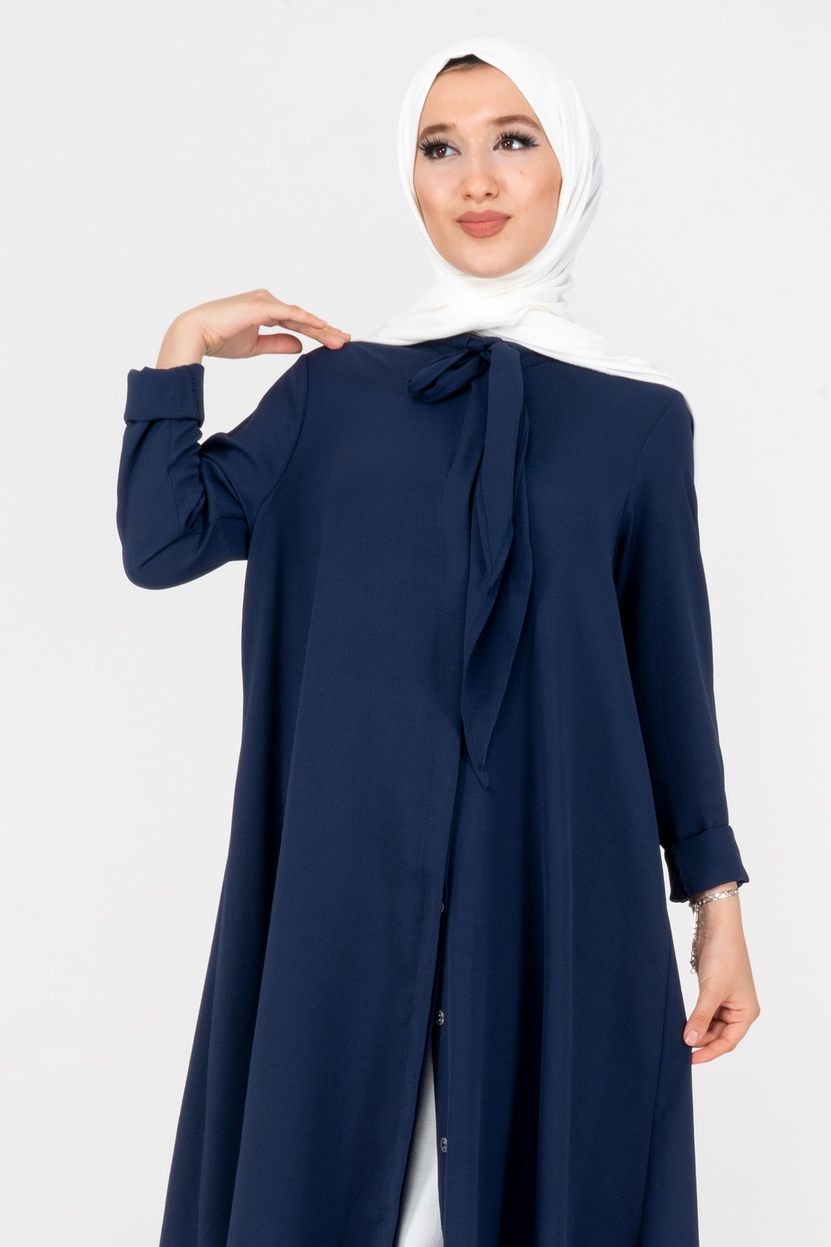 Women's Scarf Detailed Tunic 5012 Navy blue
