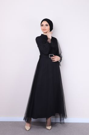 Women's Tulle Detailed Belted Long Dress