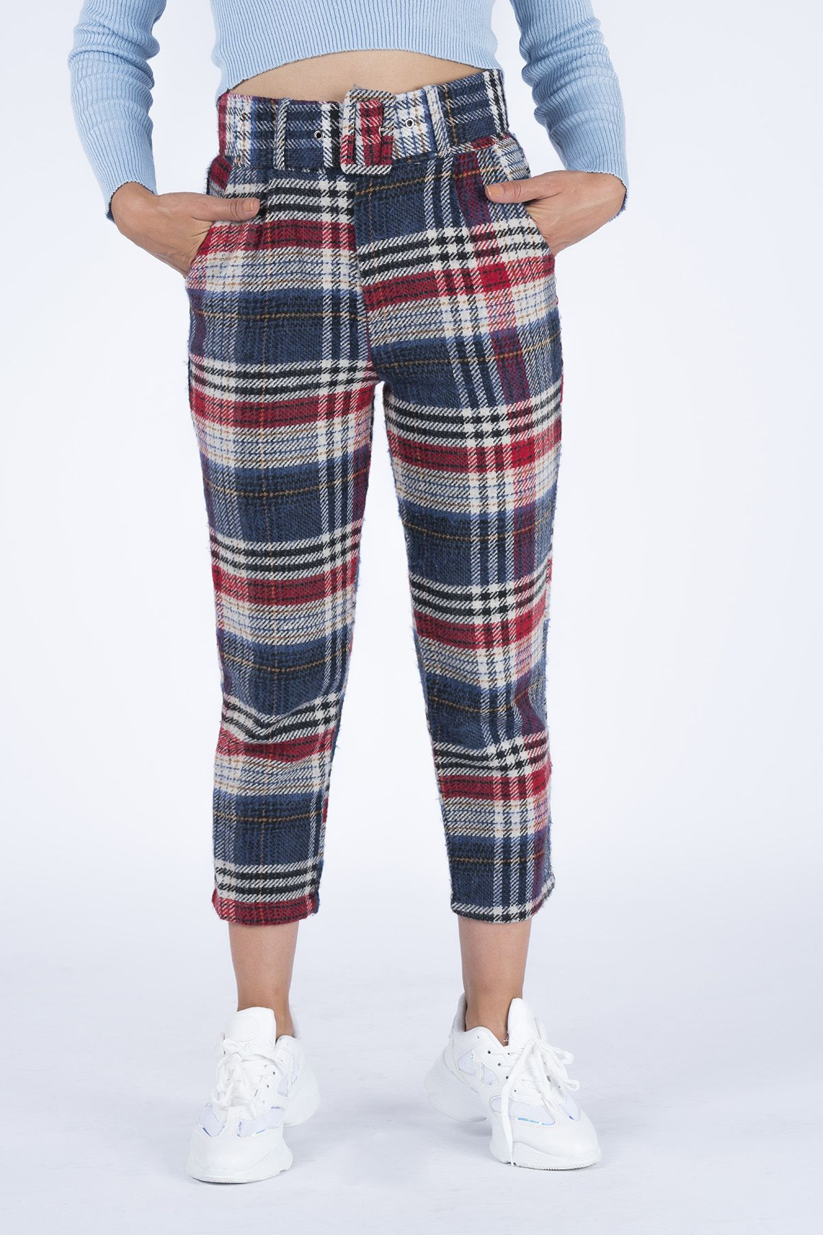 Belted Plaid Women's Pants 18998 Navy blue