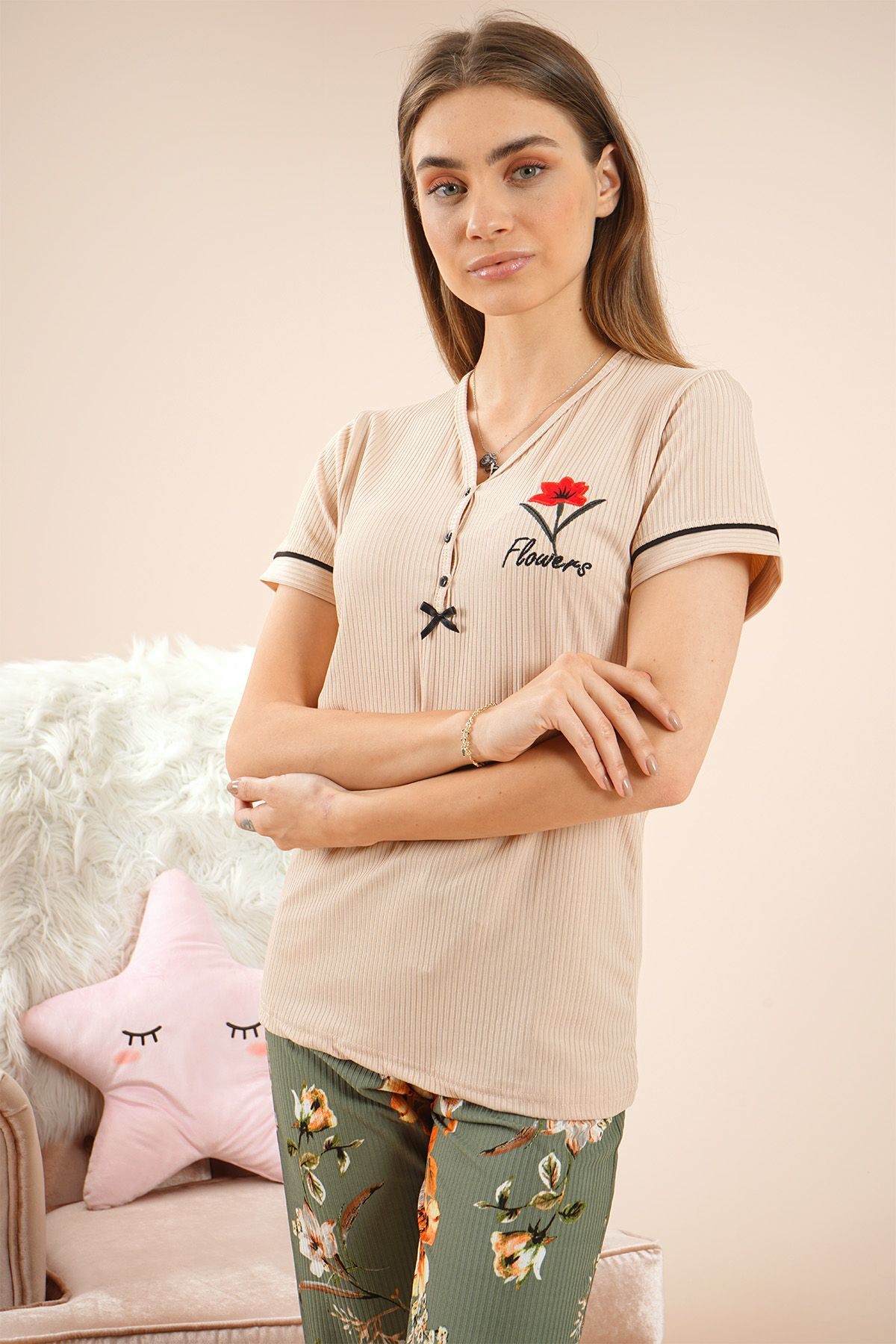 Women's Short Sleeves Pajamas - 55205 Grey