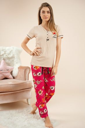 Women's Short Sleeves Pajamas - 55205 Beige