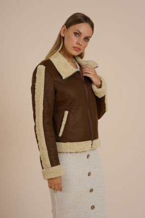 Kyoto - Biker Faux Fur Suede Women Jacket KCST1001 Brown-Light Beige