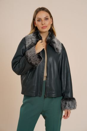 Milton Women's Faux Leather and Fur Jacket -