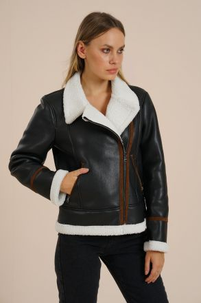 Laura - Women's Faux Fur Leather Biker Jacket