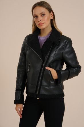 Laura - Women's Faux Fur & Leather Biker Jacket -