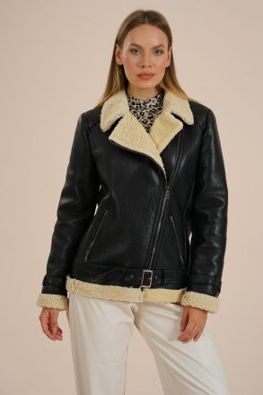 Lugan - Biker Faux Leather With Fur Women's Jacket