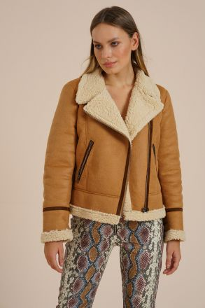 Margaret - Biker Faux Fur Suede Women's Jacket
