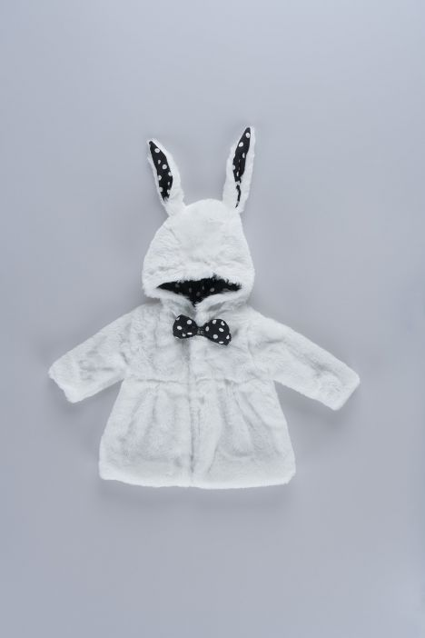 Bow-tie Detailed Rabbit Looking Baby Girl Plush Mont  09244 White