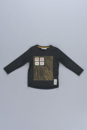 Fingerprint Patterned Boy T-Shirt 43214 Anthracite