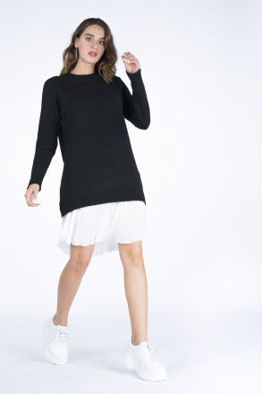 Pleated Skirt Detailed Knitwear Women's Dress