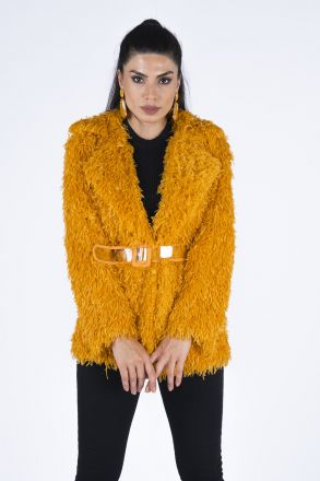 Fringe Women's Coat With a Belt 192823 Mustard