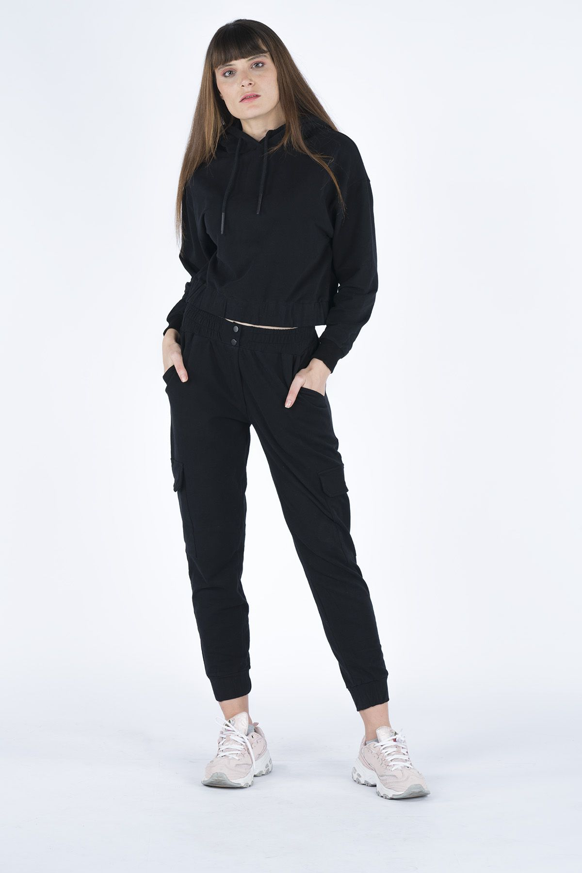 Striped Women's Tracksuit With Cargo Pocket  5949 Black